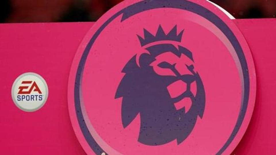 General view of the Premier League logo before the match.