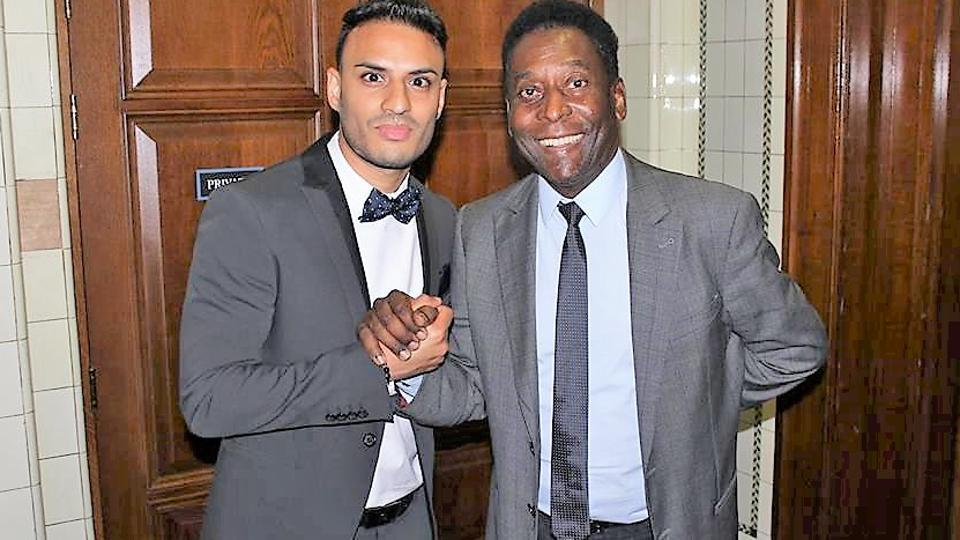 Kashif Siddiqi with Pele who is a charity ambassador for Football For Peace, founded by Siddiqi and Fifa Legend Elias Figueroa in 2013.