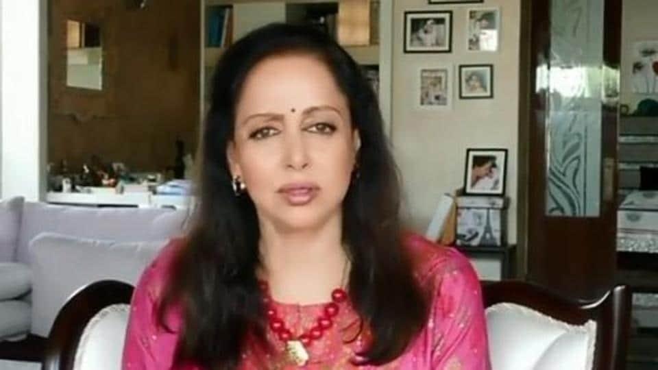 Hema Malini in a screengrab from her video.