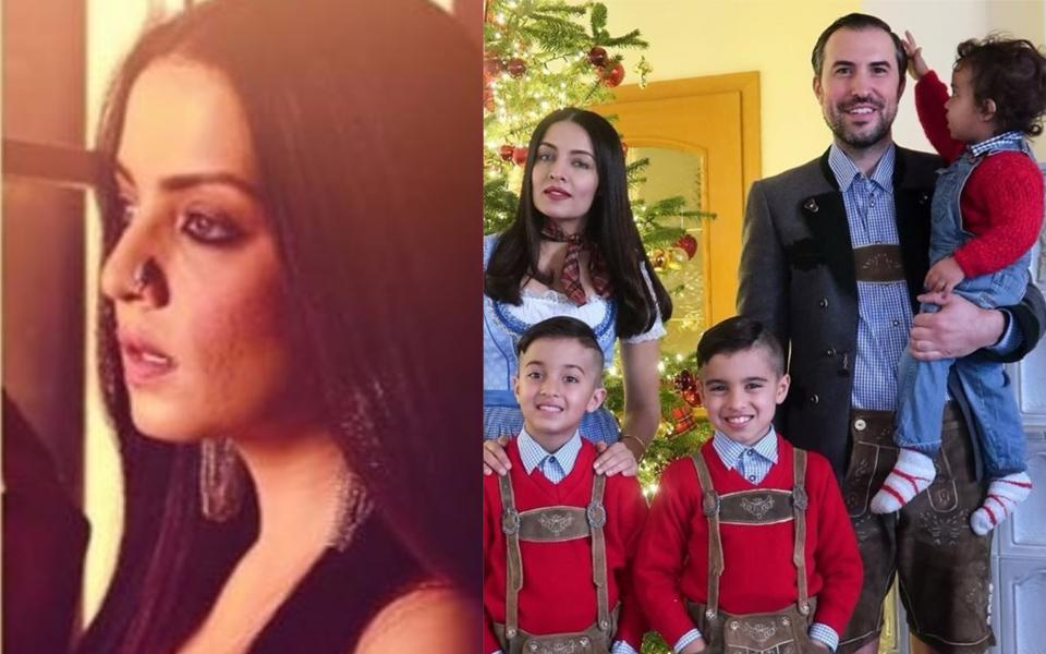 Celina Jaitley in a still from her Season's Greetins (left) and with her family.
