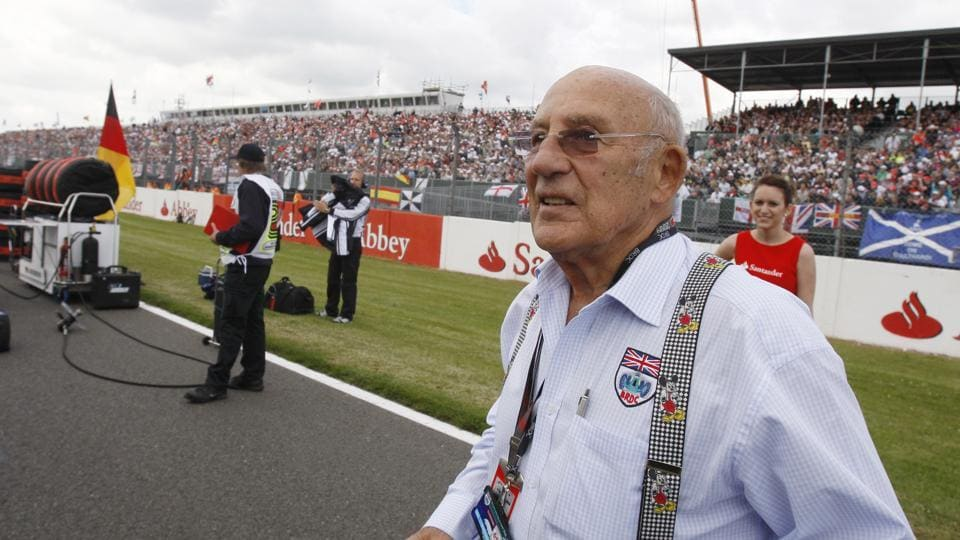 FILE - In this file photo dated Sunday, June 21 2009, Stirling Moss, the legendary British Racing driver attends the British Formula One Grand Prix at the Silverstone racetrack.