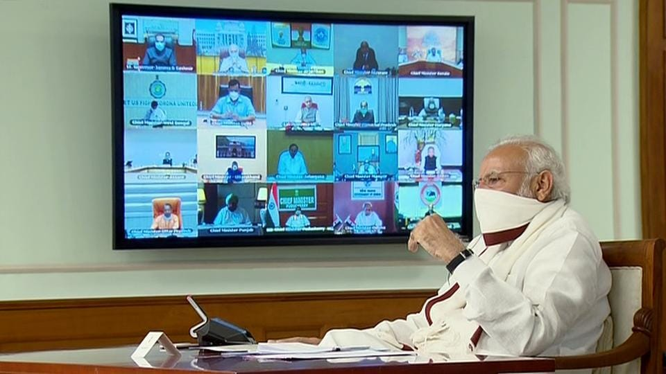 Prime Minister Narendra Modi seen wearing a mask during a video-conference with the Chief Ministers over Covid-19, in New Delhi on Saturday.