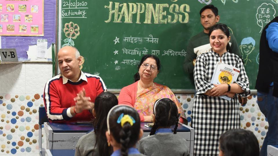 Covid-19: Delhi Deputy Chief Minister Manish Sisodia visits the Sarvodaya Kanya Vidyalaya to inspect a happiness class, at West Vinod Nagar in New Delhi, India, on Saturday, February 22, 2020.