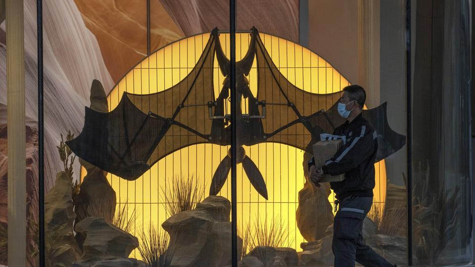A man wearing a mask walks past a mechanical bat displayed at a mall in Beijing. Despite small sample sizes, the study managed to detect six coronaviruses in insectivorous bats.