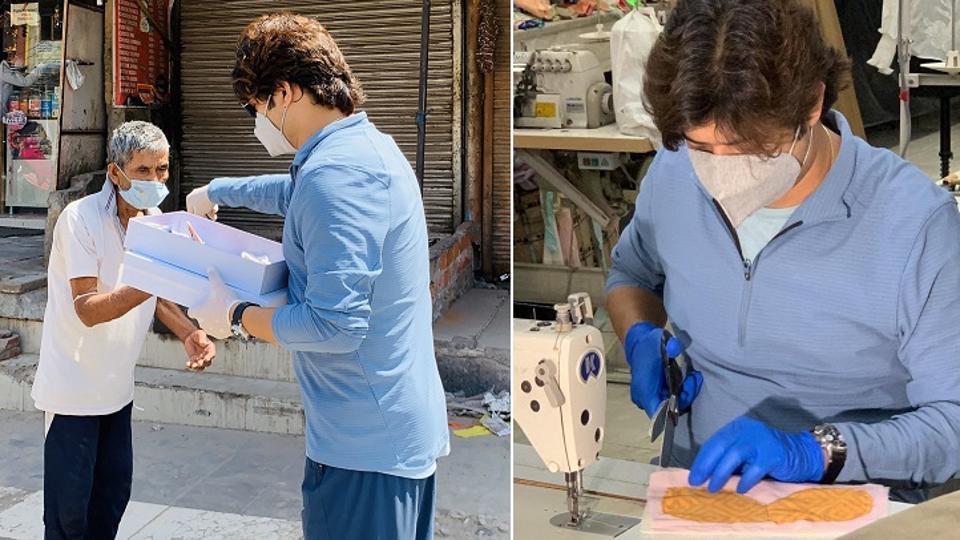 Manish Tripathi is preparing masks using cotton and khadi fabrics to distribute among the needy people.