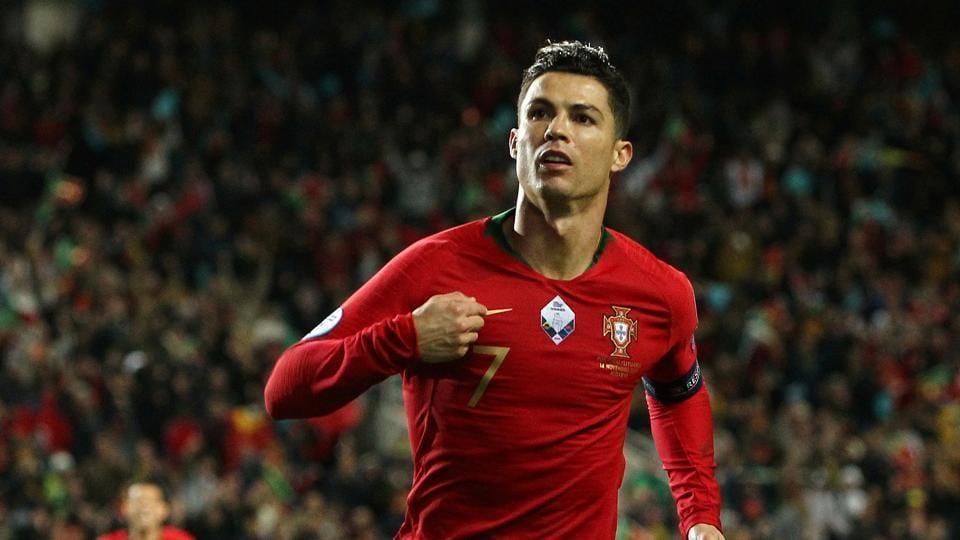 Portugal's Cristiano Ronaldo celebrates scoring their second goal.