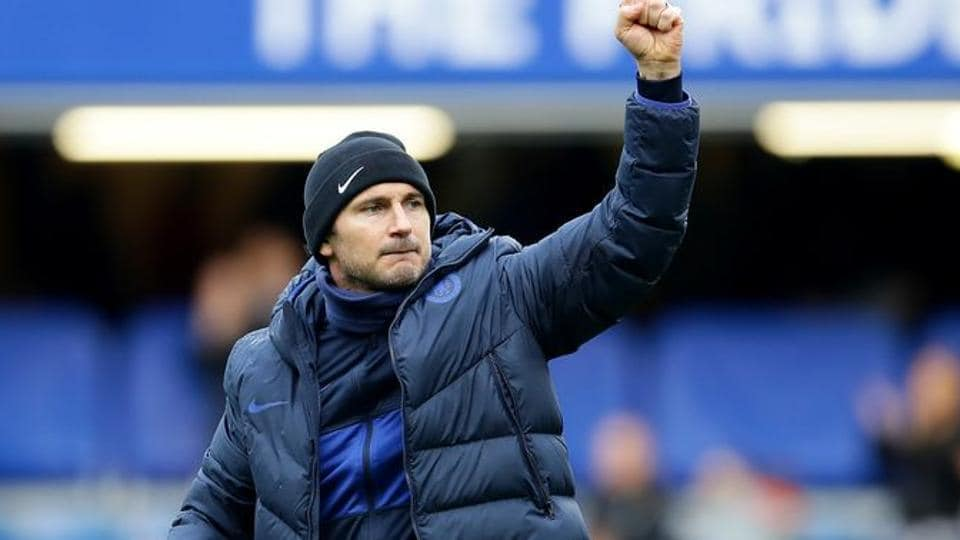 Chelsea manager Frank Lampard celebrates after the match.