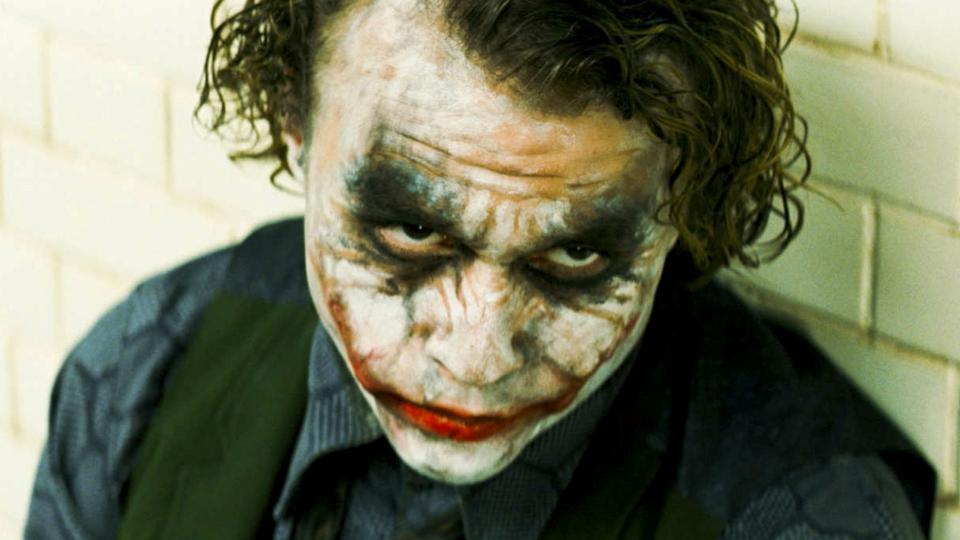 Heath Ledger in a still from The Dark Knight.