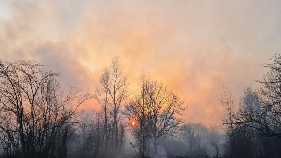 This picture taken on April 5, 2020, shows a forest fire burning at a 30-kilometer (19-mile) Chernobyl exclusion zone, not far from the nuclear power plant. -