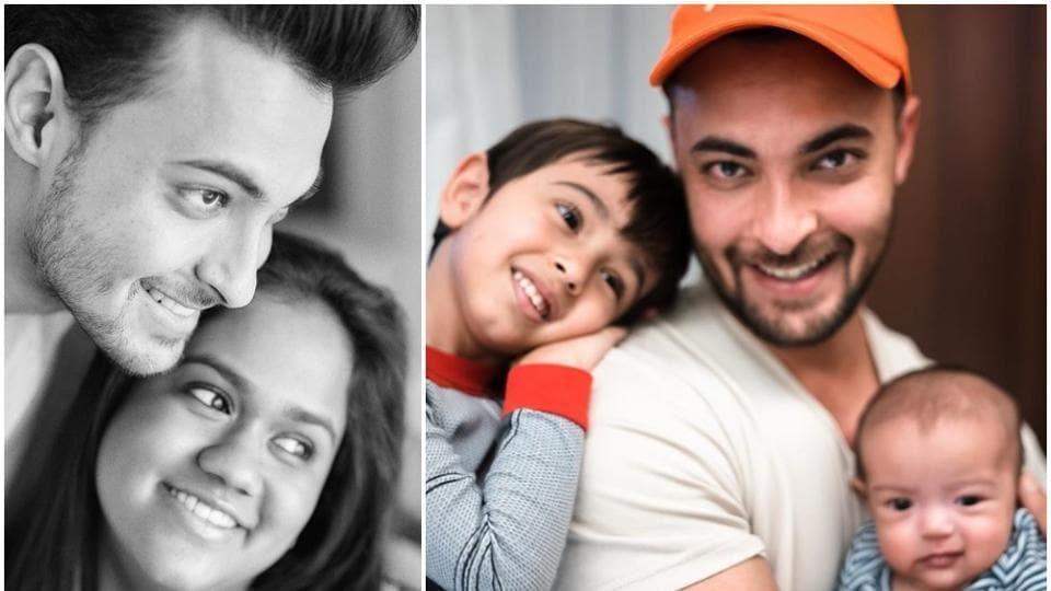 Aayush Sharma with wife Arpita, son Ahil and daughter Ayat.