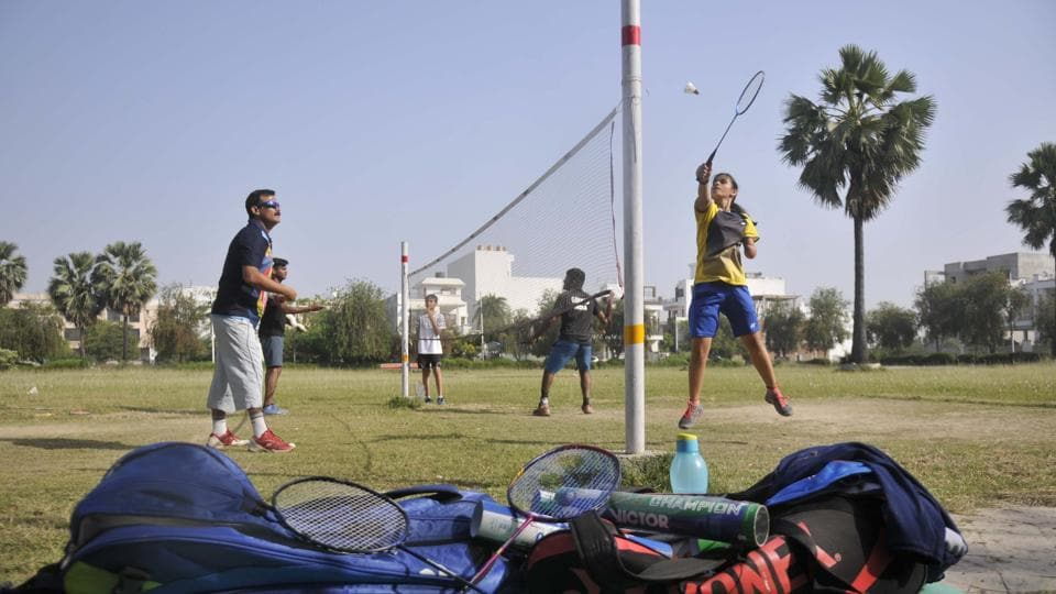 World no 5 para-badminton player Palak Kohli (right) in action during a training session on a makeshift court in Lucknow.
