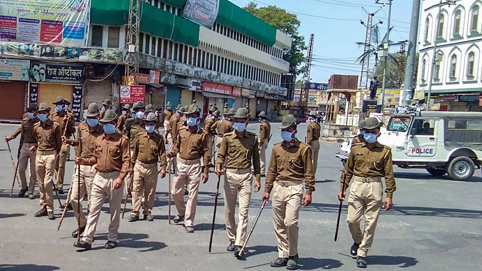Police officials patrol in Bhilwara, March 21, 2020