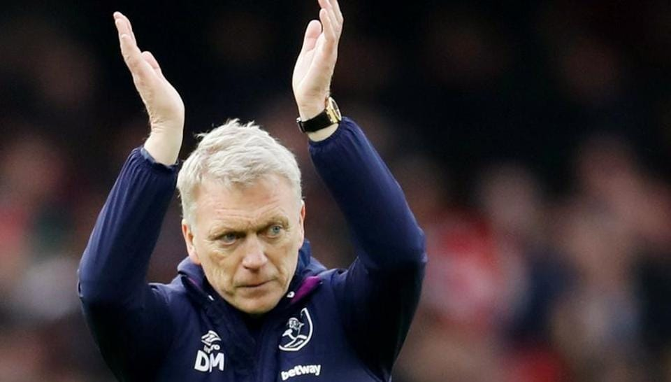 West Ham United manager David Moyes applauds the fans.