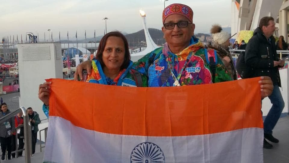 Om Prakash Mundra with wife Premlata at the 2014 Sochi Winter Games where they were volunteers.