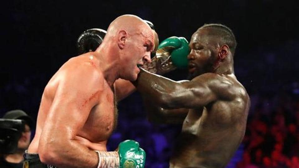 Tyson Fury in action against Deontay Wilder.