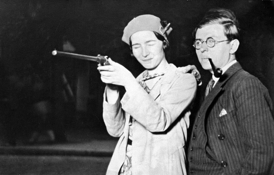 Jean-Paul Sartre and Simone de Beauvoir in their first picture together at a fair, Porte d'Orleans in June, 1929 in Paris, France.