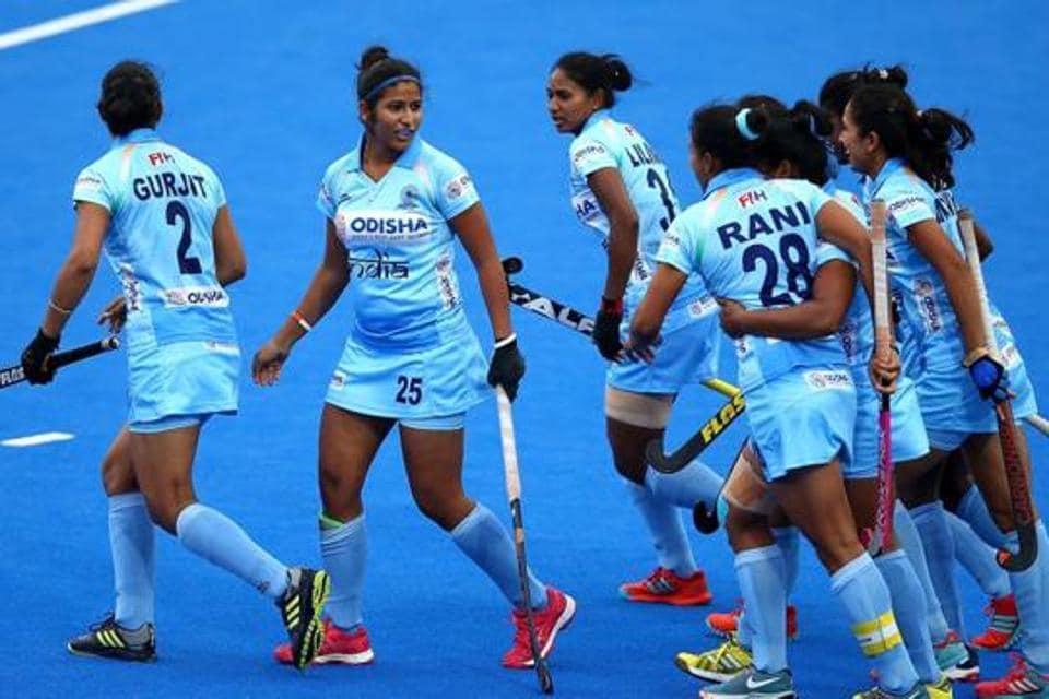Rani of India celebrates scoring her sides first goal with team mates during the FIH Womens Hockey World Cup Pool B game between India and the United States at Lee Valley Hockey and Tennis Centre on July 29, 2018 in London, England.