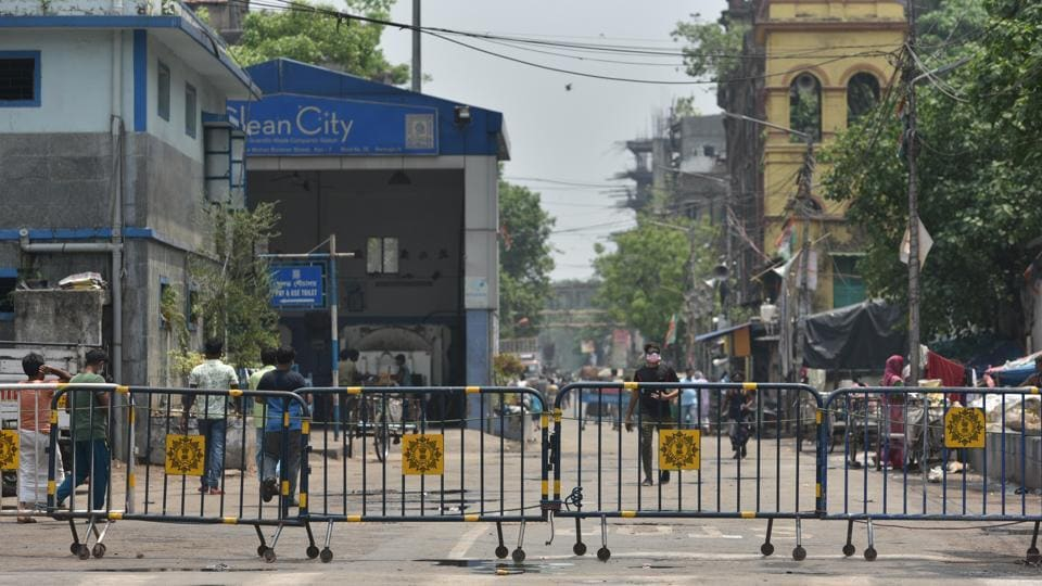 Police barricade seen at Kalabagan, one of the coronavirus containment zones, in Kolkata, West Bengal.