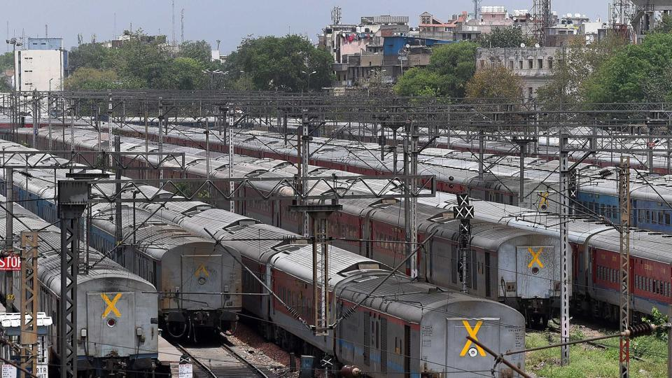 Train coaches seen at a parking bay during the lockdown, at New Delhi Railway Station, Saturday, April 18, 2020.