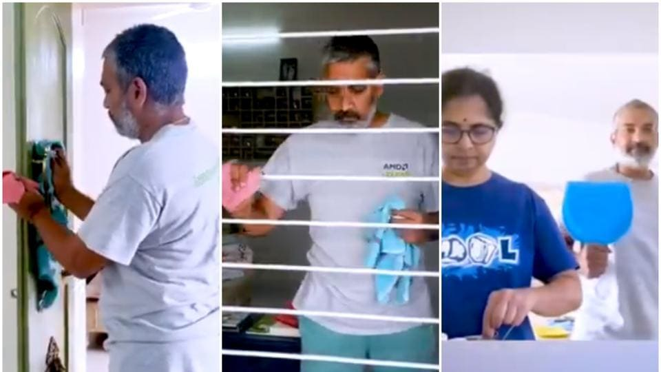 SS Rajamouli shared a video of himself helping his wife Rama out with housework.