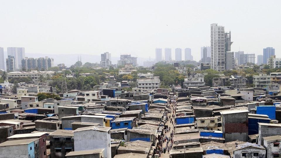 Aerial view of Dharavi which has been identified as the containment zone during the nationwide Covid-19 lockdown in Mumbai on Tuesday.