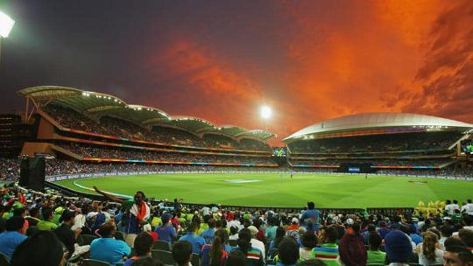 A general view as the sun sets at the Adelaide Oval in Australia