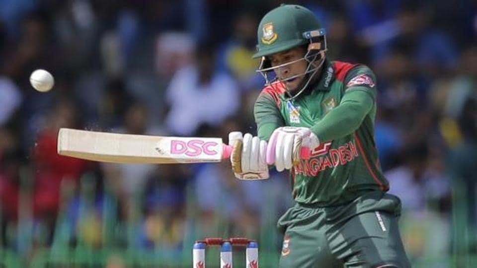 Bangladeshi batsman Mushfiqur Rahim plays a shot during the second one-day international cricket match between Sri Lanka and Bangladesh in Colombo.