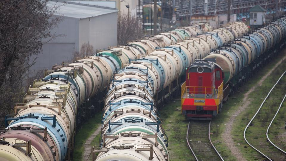 Rail wagons for oil cargo stand in sidings at the RN-Tuapsinsky refinery, operated by Rosneft Oil Co., in Tuapse, Russia.