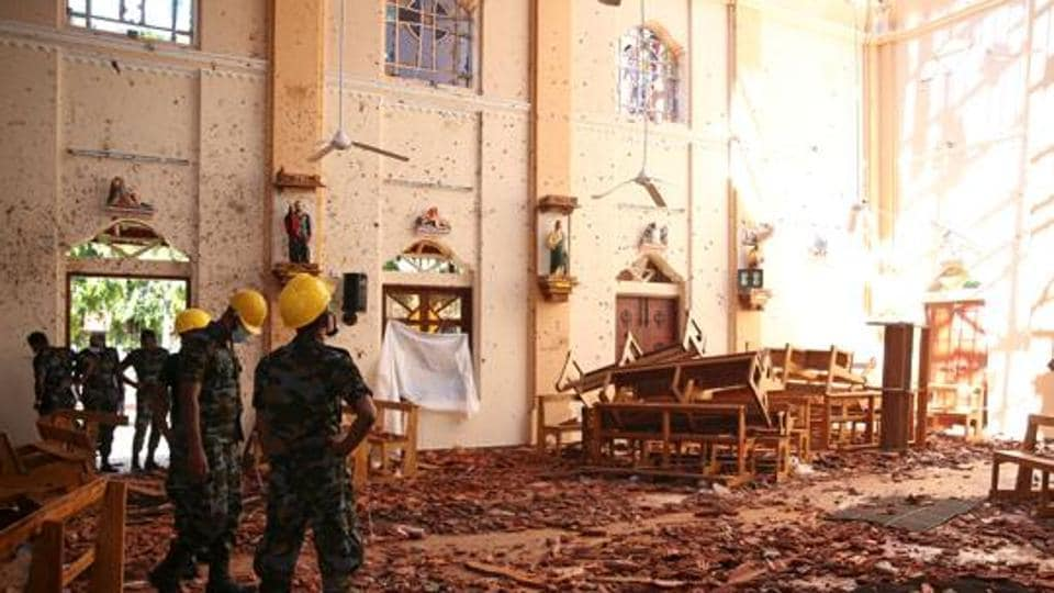 A view of the damage at St. Sebastian Catholic Church, after bomb blasts ripped through churches and luxury hotels on Easter, in Negambo.