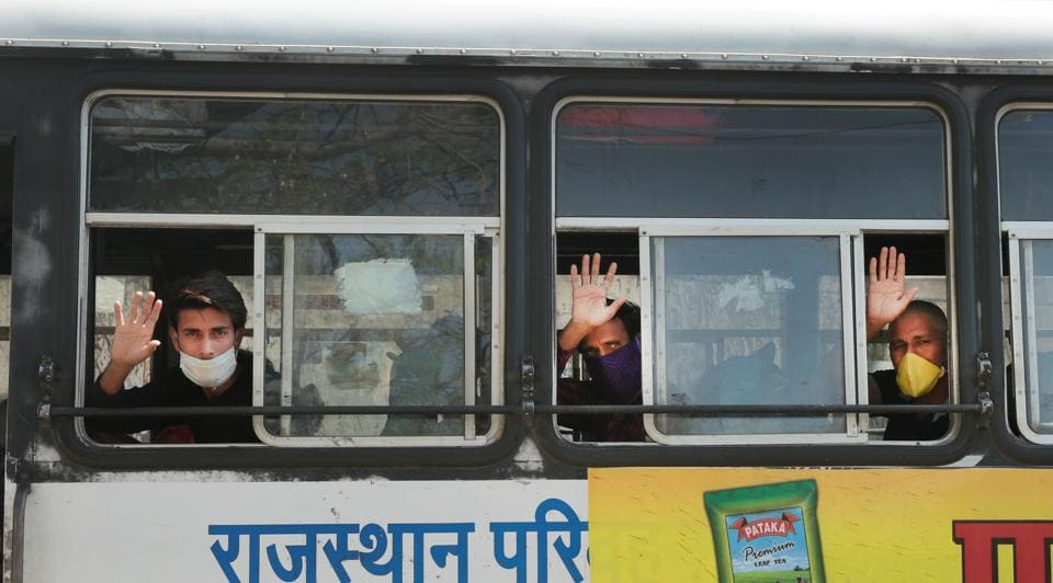 Migrant workers from Bharatpur and Dholpur were transported to their native place during lockdown in Jaipur.