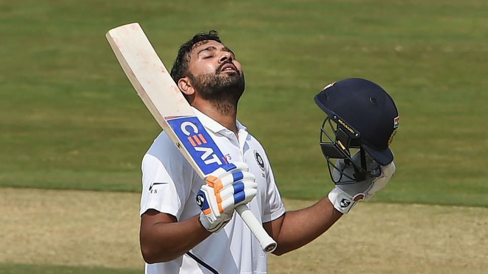 India's Rohit Sharma celebrates his century