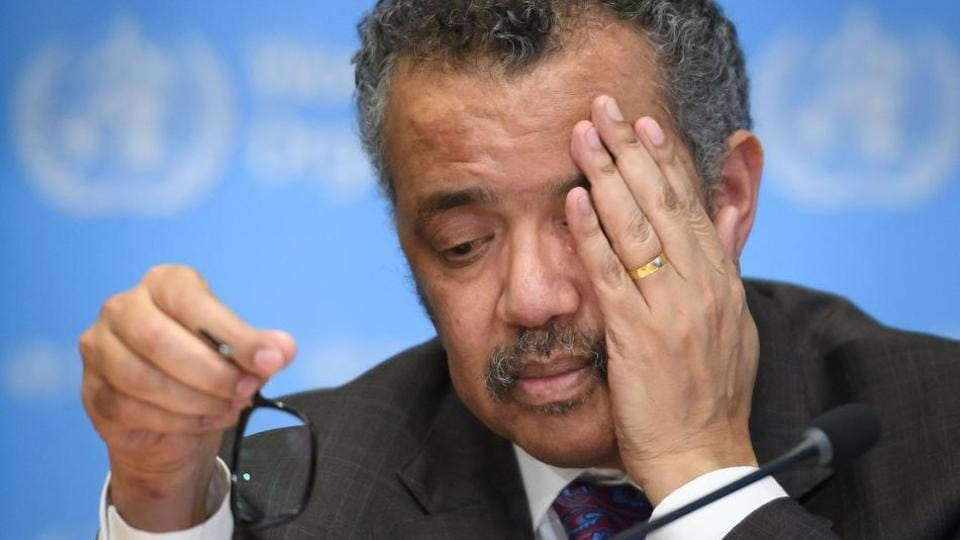 World Health Organization (WHO) Director-General Tedros Adhanom Ghebreyesus during a press briefing on Covid-19 at the WHO headquaters in Geneva.