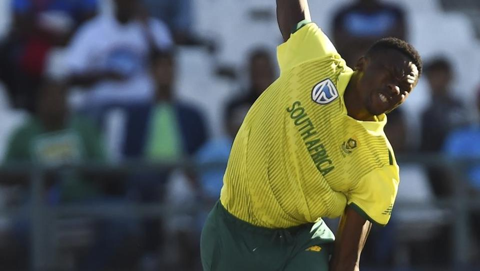 South Africa's Kagiso Rabada bowls during the 3rd and final T20 cricket match.