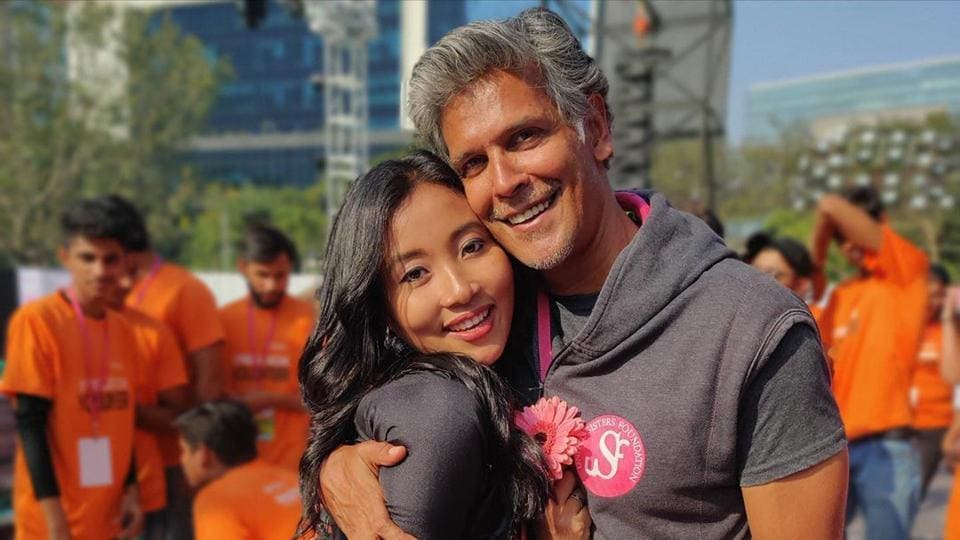 Milind Soman with wife Ankita Konwar at an event.