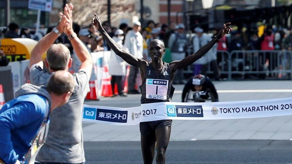 File photo of Wilson Kipsang of Kenya crossing the finish line.