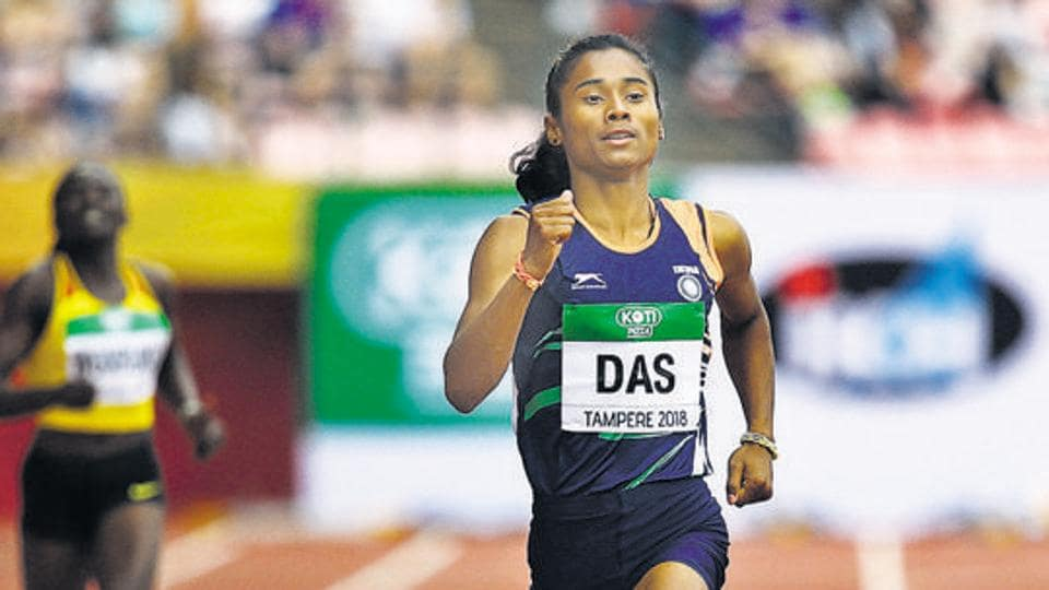 Hima Das of India in action.