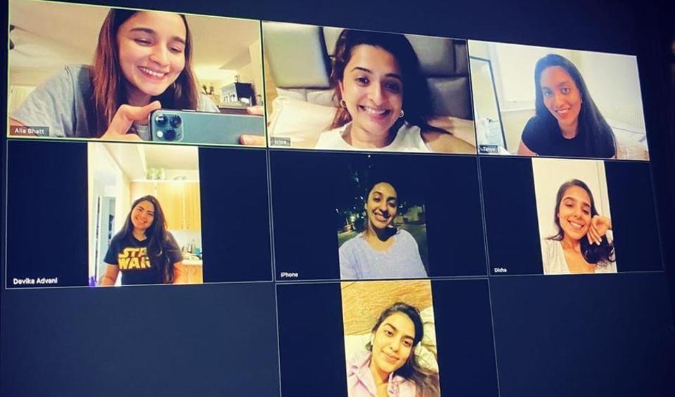 Alia Bhatt facetimes with her friends.