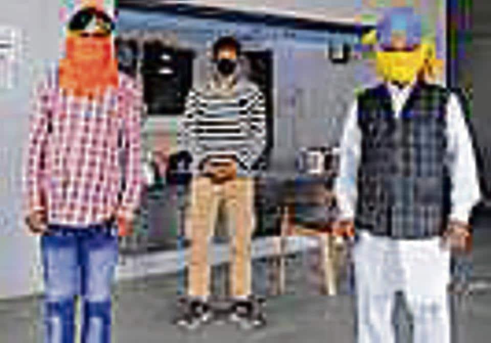 (From left) Surender Kumar, Raghubir Singh and Gulzar Singh at the LPG crematorium in Sector 25, Chandigarh, on Monday.