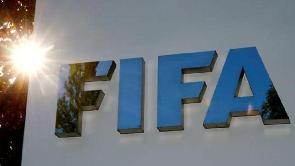 The logo of FIFA is seen in front of its headquarters in Zurich, Switzerland