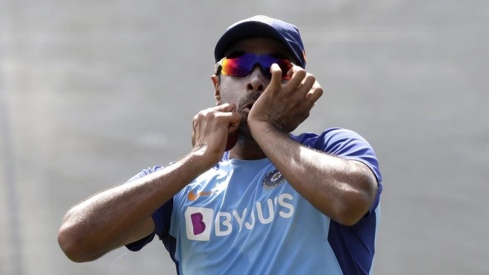 India's Ravichandran Ashwin prepares to bowl during a net session.