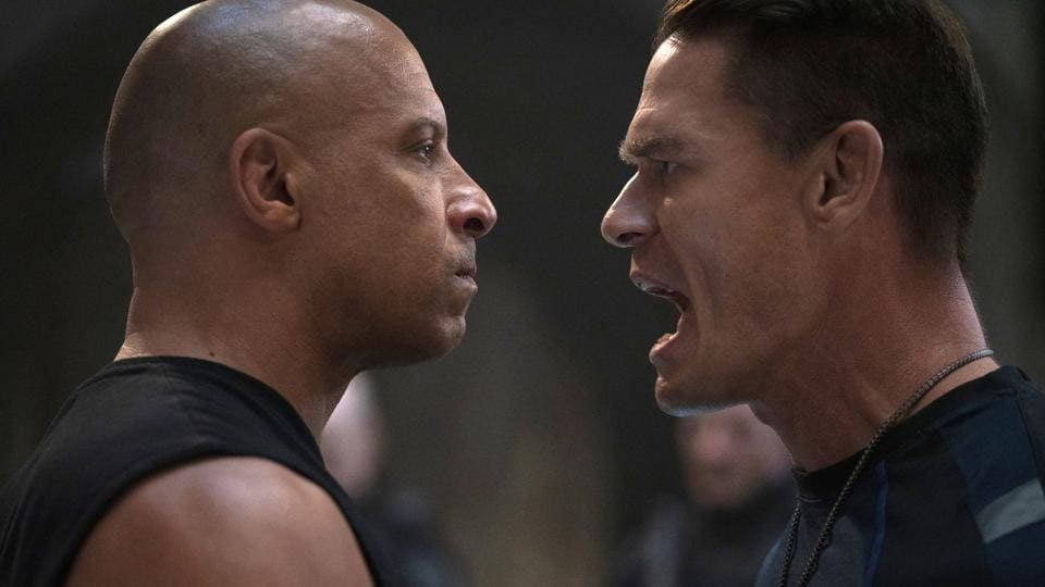 This image released by Universal Pictures shows Vin Diesel, left, and John Cena in a scene from F9.