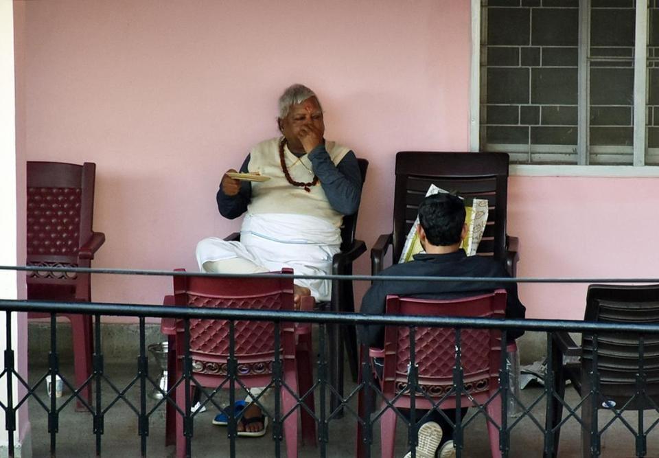 RJD Supremo Lalu Prasad Yadav spending time at the corridors of RIMS cottage in Ranchi.