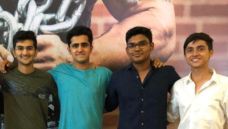 (From left) Jaash Parekh, Siddharth Kaul, Shlok Dabir and Jaikrit Bhattacharya