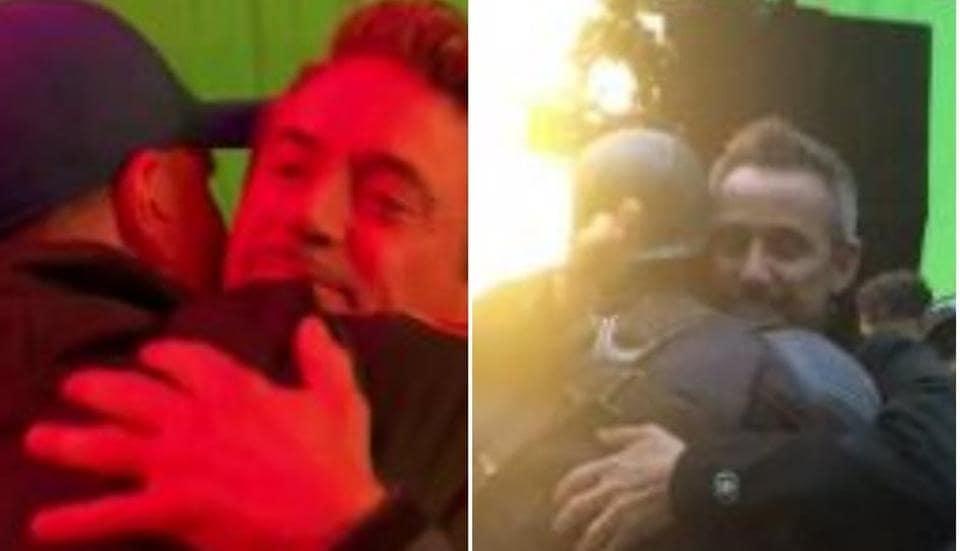 Chris Evans and Robert Downey Jr on their last days on the Avengers: Endgame set.