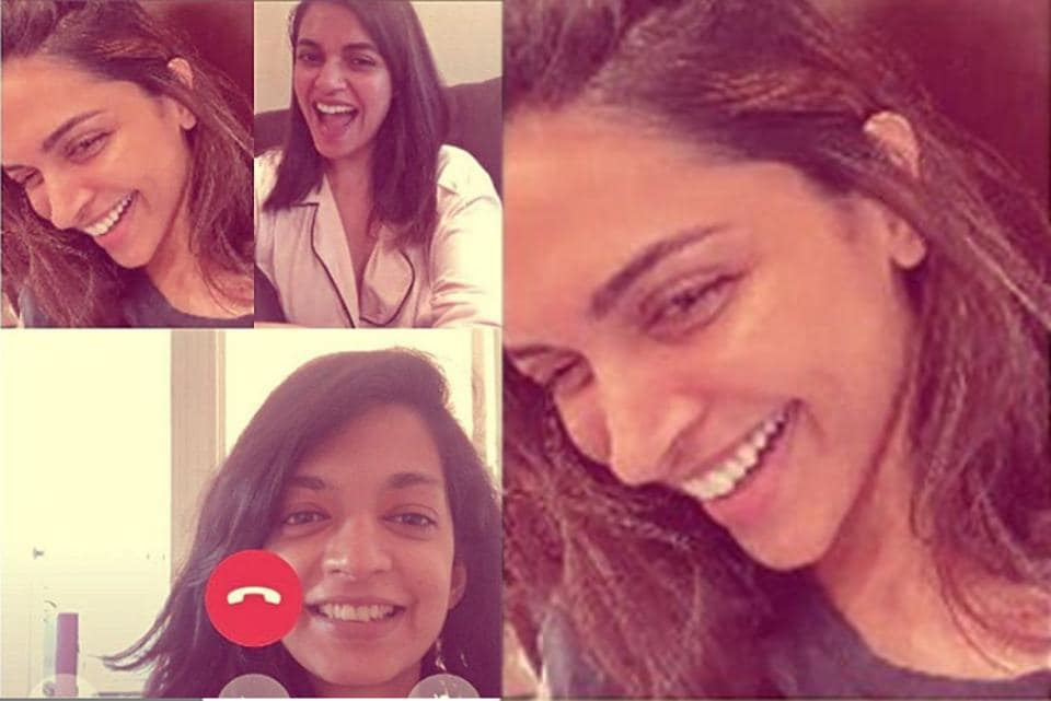 Deepika Padukone chats with her friends.