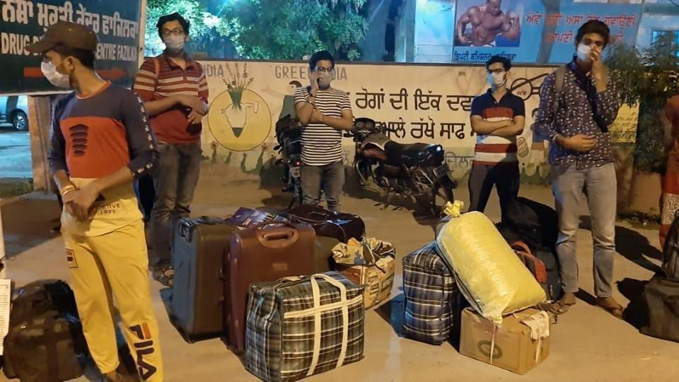 The students who arrived in Punjab's Fazilka from Kota on Monday night.
