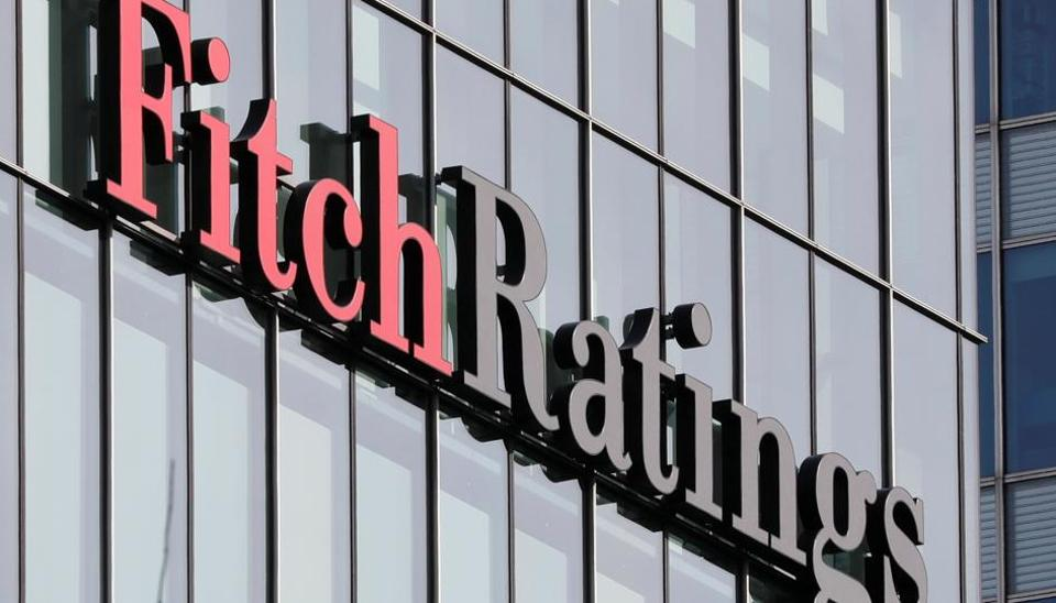 The Fitch Ratings logo is seen at their offices at Canary Wharf financial district in London,Britain.