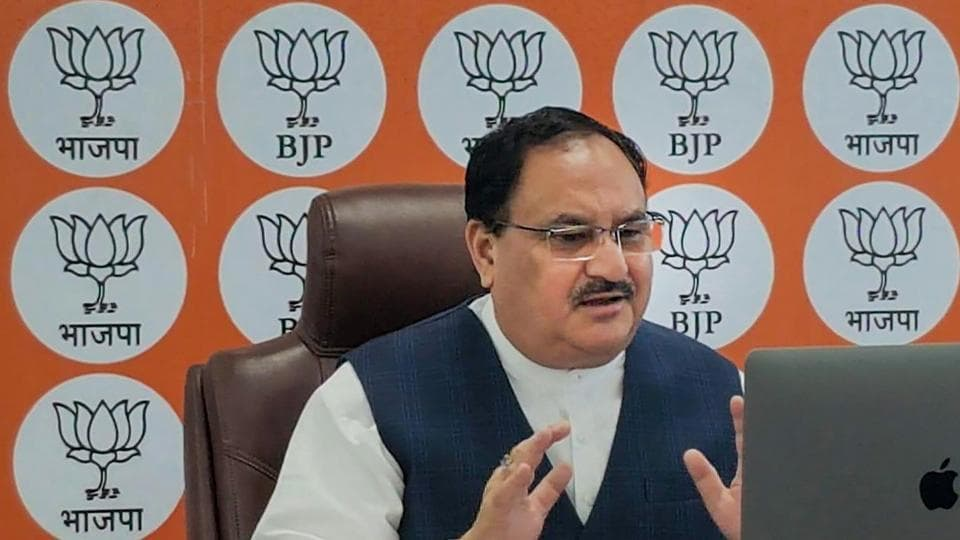 BJP National President JP Nadda interacts with retired bureaucrats and armed force personnel via video conferencing, in New Delhi.