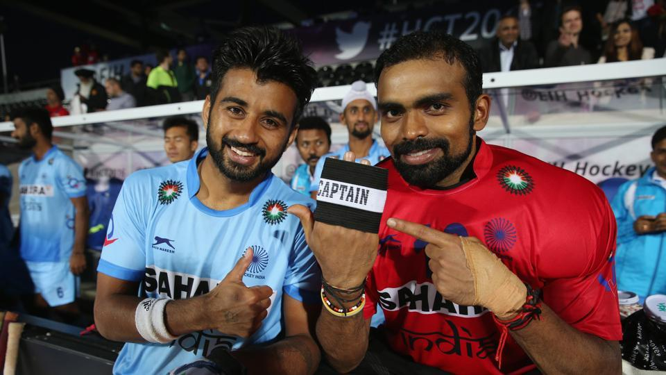 Manpreet Singh and Sreejesh Parattu of India during the FIH Mens Hero Hockey Champions Trophy.