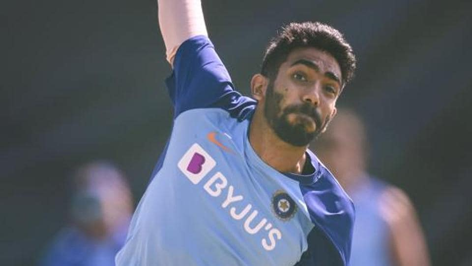 Jasprit Bumrah bowls during a training session.